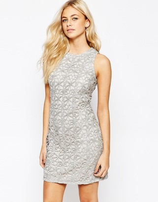 Oasis Metallic Lace Shift Dress $103 thestylecure.com
