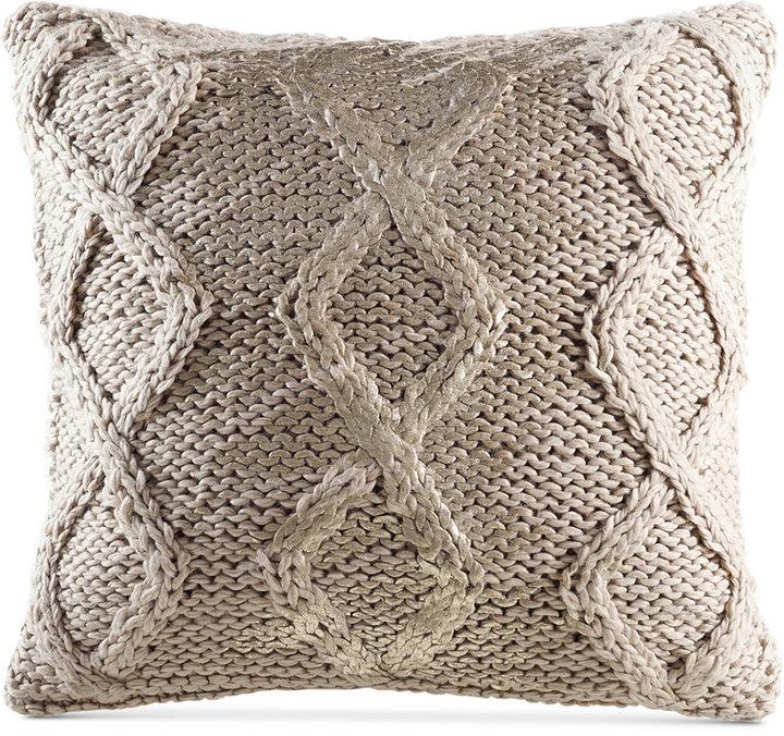 "Kas Nola Ivory 18"" Square Decorative Pillow"