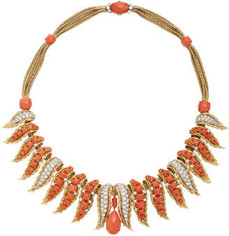 Eleuteri Retro Coral And Diamond Necklace
