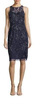 Adrianna Papell Mesh Beaded-Embellished Sheath Dress