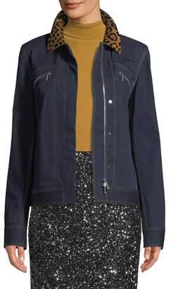 Lafayette 148 New York Kesha Denim Jacket w/ Leopard Collar
