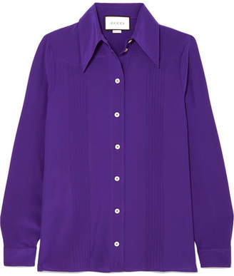 Gucci Pintucked Silk Crepe De Chine Shirt - Purple