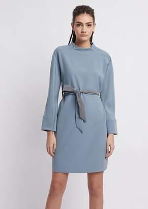 Emporio Armani Dress With Waist Sash And Contrasting Details