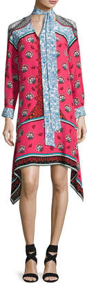 Mary Katrantzou Long-Sleeve Mixed-Print Scarf-Tie Dress, Pink Pattern