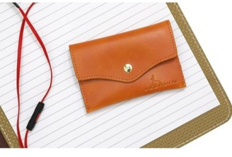 DEERLUX Brown Leather Card Holder with Snap, Small Leather Wallet