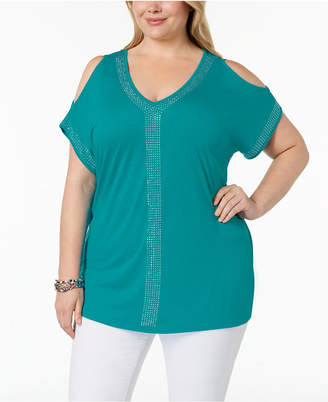 INC International Concepts I.n.c. Plus Size Cold-Shoulder Studded Top, Created for Macy's
