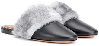 Givenchy Bedford fur-trimmed leather slippers