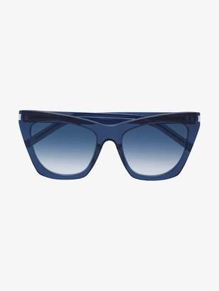 Saint Laurent Eyewear Blue Kate Acetate Sunglasses