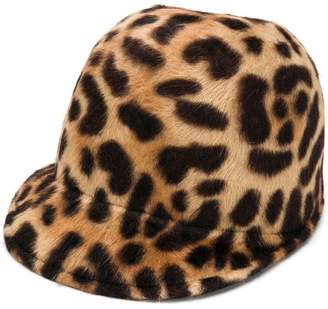 Borsalino leopard print baseball cap