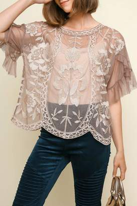 Umgee Embroidered Lace Top