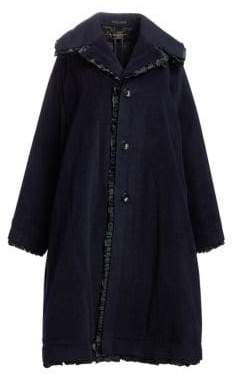 Comme des Garcons Wool-Blend Ruffle Trim Coat