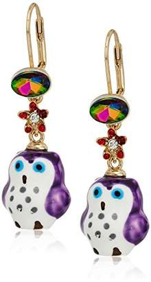 Betsey Johnson Surreal Forest Owl Drop Earrings