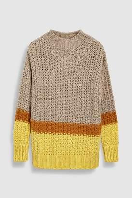 Next Womens Orange Stitchy Funnel Neck Sweater