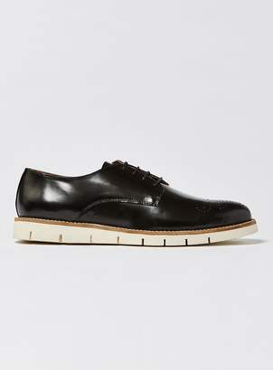 Topman HOUSE OF HOUNDS Black Polido Leather Derby Shoes