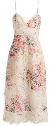 Zimmermann Laelia Floral Print Broderie Anglaise Dress - Womens - Cream Multi