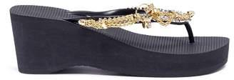 Uzurii 'Flamengo High Heel' crystal chain wedge thong sandals