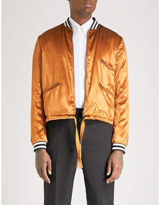 Saint Laurent Striped-trim velvet bomber jacket