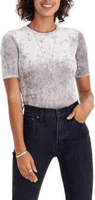 Madewell Crushed Velvet Short Sleeve Bodysuit