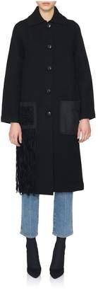 Proenza Schouler Black Wool Coat With Fringe Detailing