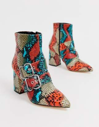 Miss Selfridge pointed boots with double buckle in snake print