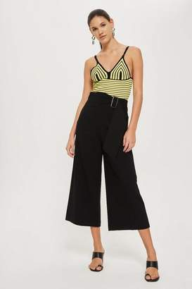 Topshop Bonded Cropped Wide Leg Trousers
