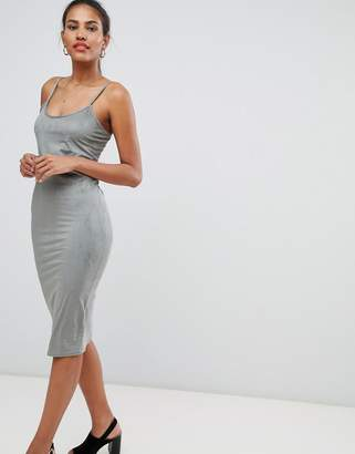 Missguided Faux Suede Strappy Bodycon Dress