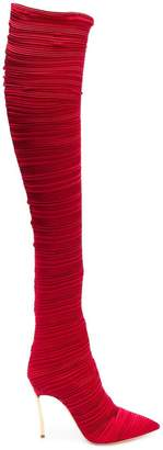 Casadei pleated thigh-length boots