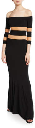 Norma Kamali Spliced Off-the-Shoulder 3/4-Sleeve Fishtail Evening Gown