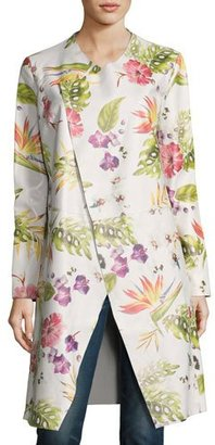 Neiman Marcus Long Floral-Print Leather Duster Jacket, White $595 thestylecure.com