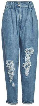 Balmain High-Waist Distressed Jeans
