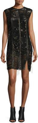 Magda Butrym Bowie Braided Leather Mini Dress, Black