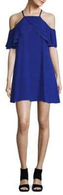 Rachel Roy Ruffled Cold Shoulder Trapeze Dress
