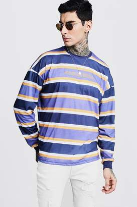 boohoo Cuffed Stripe Oversized T-Shirt With Pasadena Embroidery