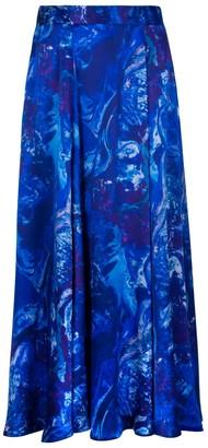 Isabel Manns Reversible Emma Silk Satin Skirt In Ocean Water
