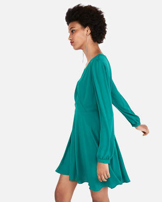Express Petite Surplice Fit And Flare Dress