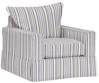 Pottery Barn PB Comfort Square Arm Slipcovered Armchair - Print and Pattern