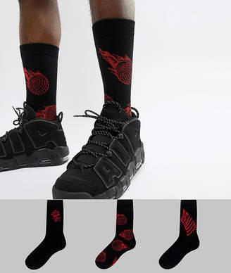 Asos DESIGN socks in rose & flame design 3 pack
