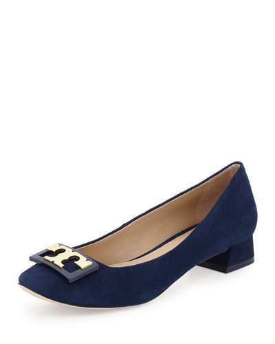 Tory Burch Tory Burch Gigi Logo Suede 25mm Pump, Navy