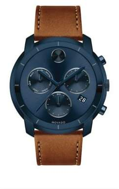 Movado Large Bold Chronograph Stainless Steel Leather-Strap Watch