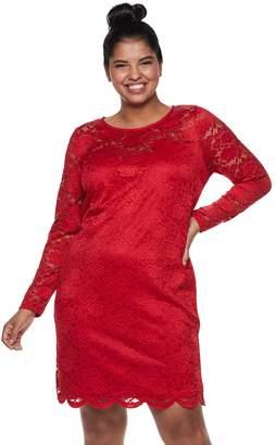 Iz Byer Juniors' Plus Size Fitted Lace Dress