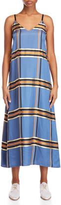 Alysi Plaid Satin Maxi Dress