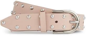Reiss Emin - Metal-detail Leather Belt in Nude