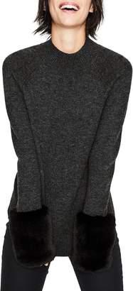 Boden Benedicta Faux Fur Trim Sweater
