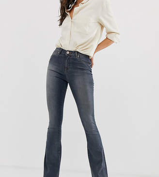 Asos Tall DESIGN Tall super low rise flare jeans in dark stone wash blue