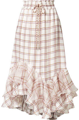 Off-White Lee Mathews - Holly Ruffled Checked Silk Midi Skirt