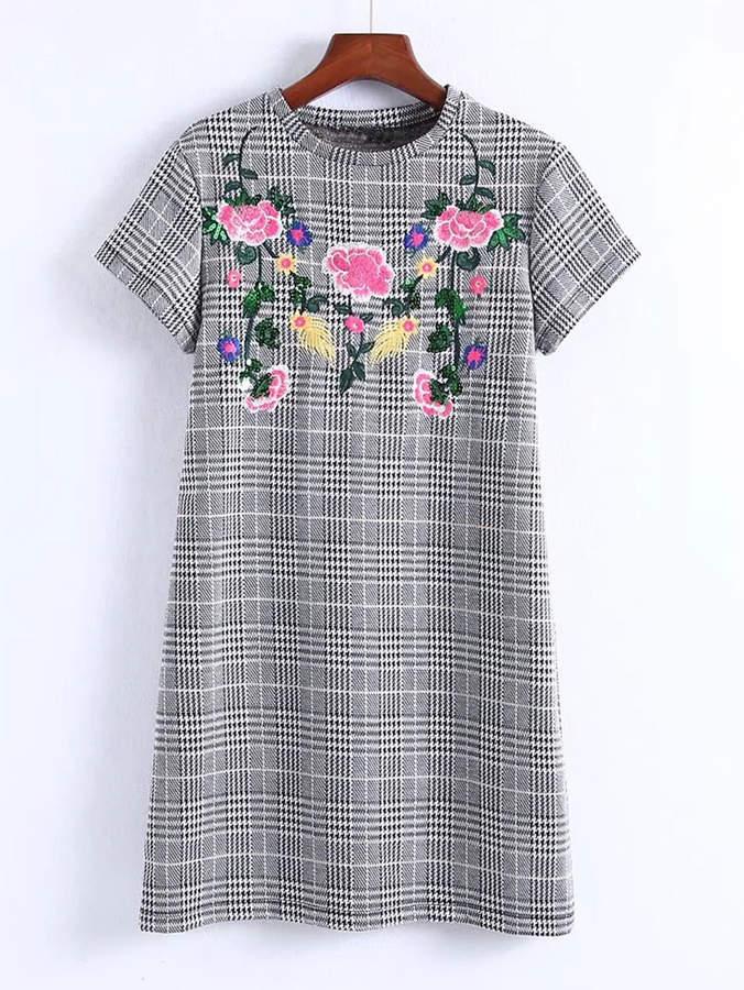 Flower Embroidery Plaid Dress