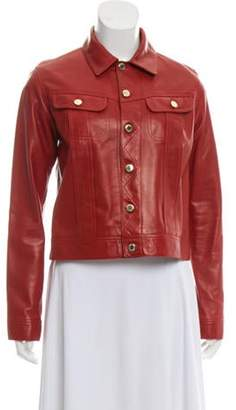 Ralph Lauren Silk-Lined Leather Jacket Red Silk-Lined Leather Jacket