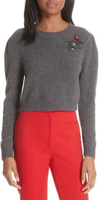 Milly Cashmere Crop Pin Sweater