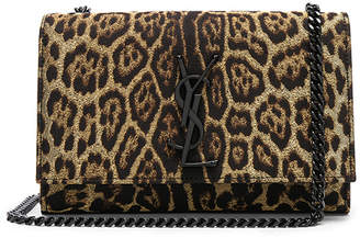 Saint Laurent Small Leopard Print Lurex Monogramme Kate Chain Bag