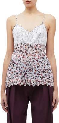 Chloé Scalloped hem lace panel floral print camisole top